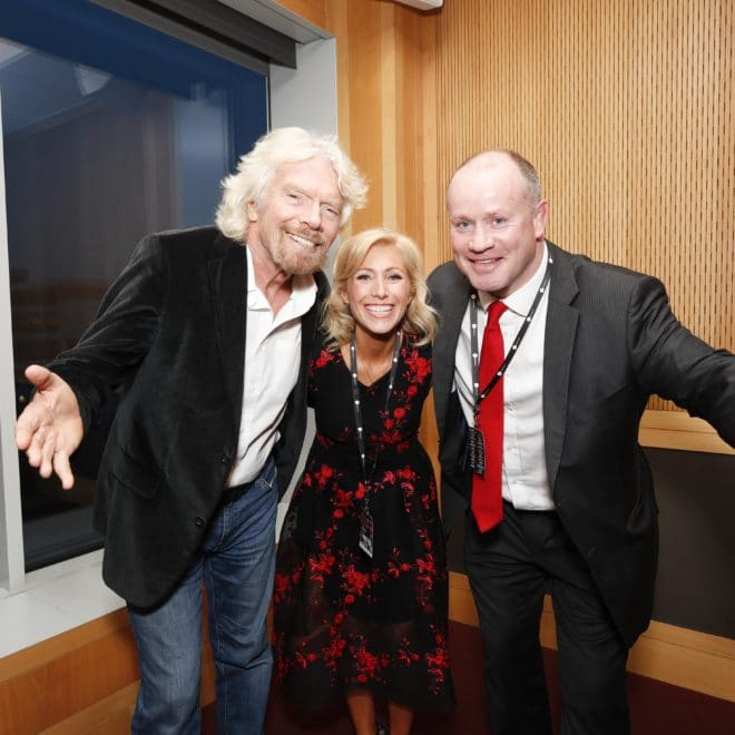 *** NO REPRODUCTION FEE *** DUBLIN : 10/1/2018 : BREAKTHROUGH TO BRILLIANCE : Pictured was Pendulum Summit 2018 keynote speaker Sir Richard Branson, Founder, Virgin Group with Co-Creators Pendulum Summit 2018 Norma Murphy and Frankie Sheehan in the green room of the Convention Centre Dublin. The two day sell out event attended by over 7,000 leaders in business line-up includes Jo Malone OBE - Founder of Jo Malone and Jo Loves ; Randi Zuckerberg - Former Facebook Executive Officer and now CEO and Founder of Zuckerberg Media ; Paul O'Connell - Former Munster, Ireland and Lions Captain, and Leadership Expert ; James Caan  - Serial Entrepreneur & Business Titan and Former UK Dragons' Den Investor ; Dr. Bob Rotella - Corporate Coach and World's Foremost Sports Psychologist. For more information please see pendulumsummit.com . Picture Conor McCabe Photography.  MEDIA CONTACT : Norma Murphy, Co-Creator, Pendulum Summit, email : norma@pendulumsummit.com mobile : +353 86 835 4005